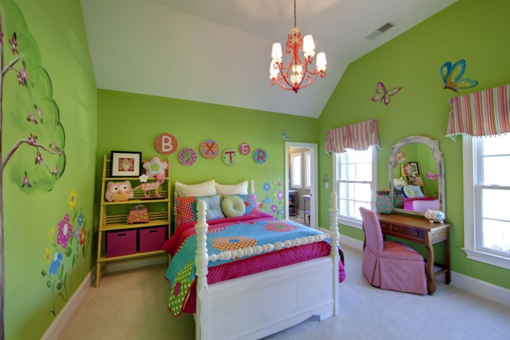 Green wall Art Kids Bedroom Idea