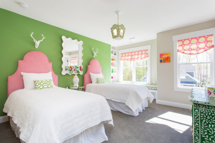 Green wall and white Kids Bed Design