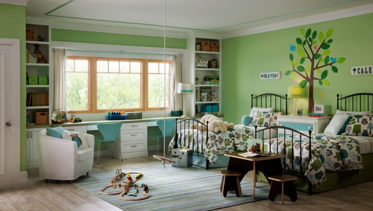 Green wall Descorative Kids Bed idea