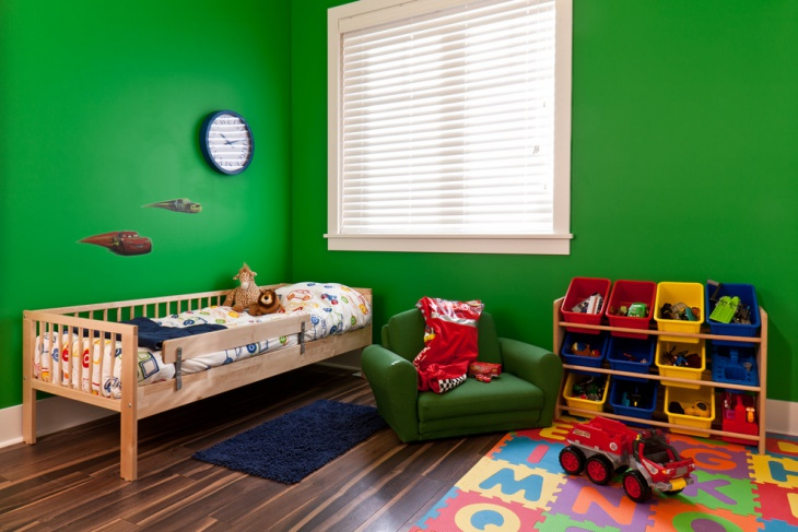 Green wall Kids bed with color Carpet