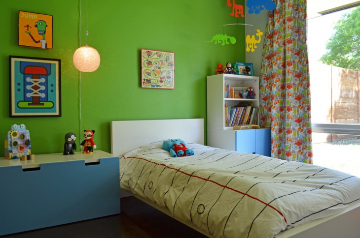 Outer View Kids Bed with Green wall Decor