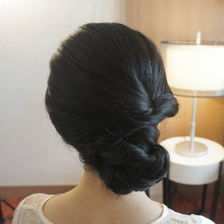 black side parted chignon hair