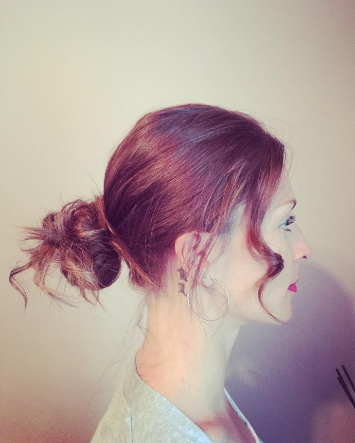 modern chignon with bangs
