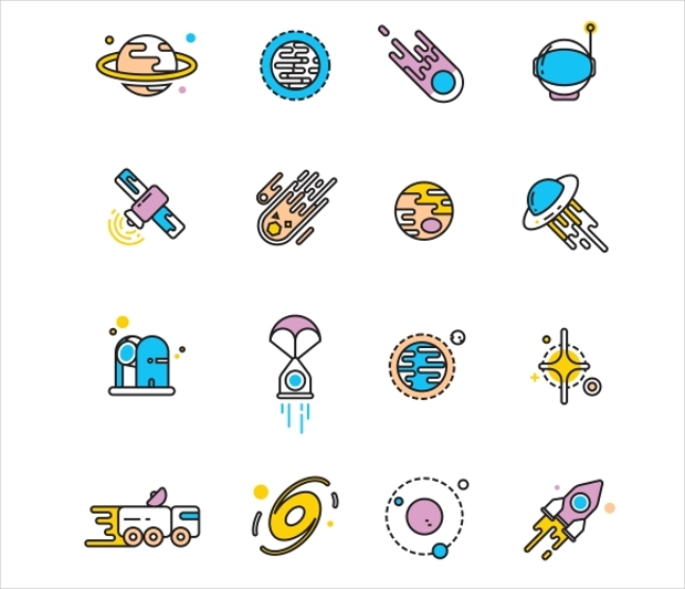 Cosmos Exploration Flat Icons
