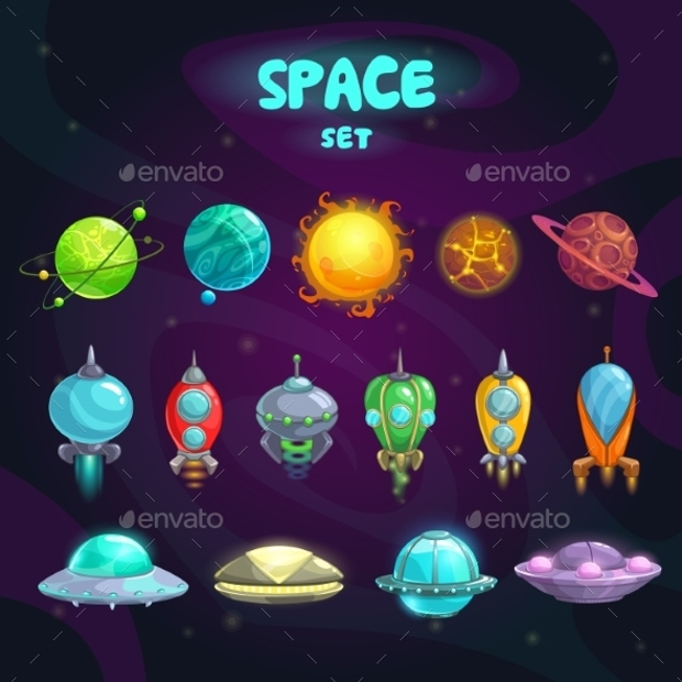 cosmos space cartoon icon set