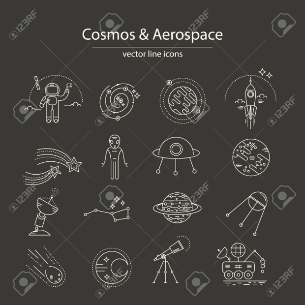 Cosmos and Aerospace Line Icons
