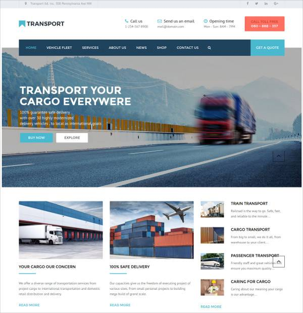 transportation wordpress theme for logistic business
