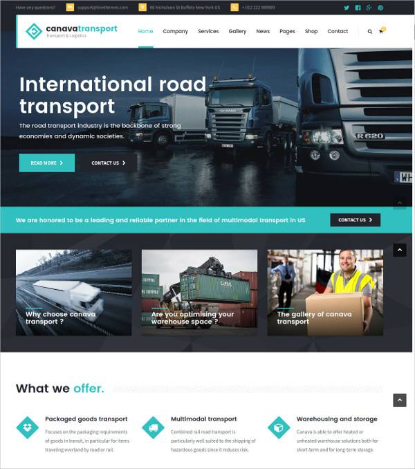 logistics wordpress theme for cargos
