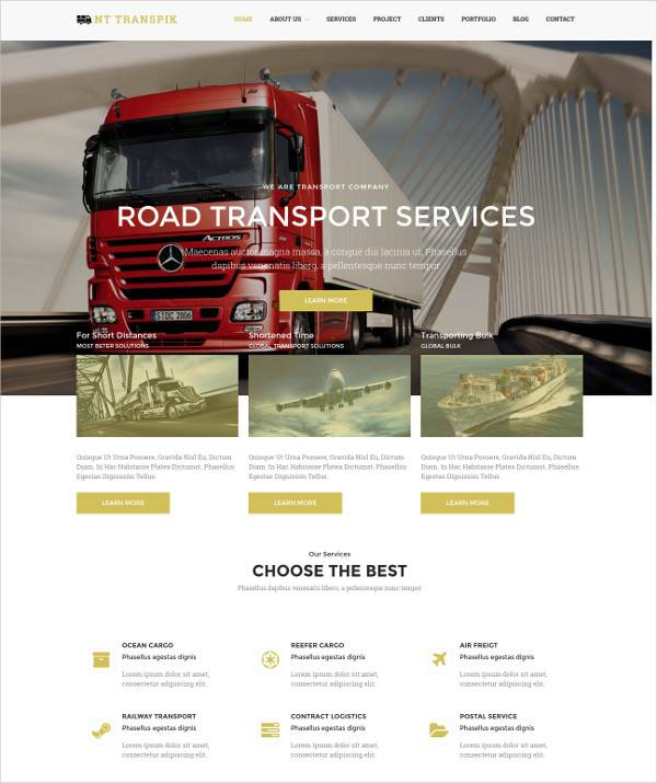 free transport responsive wordpress theme