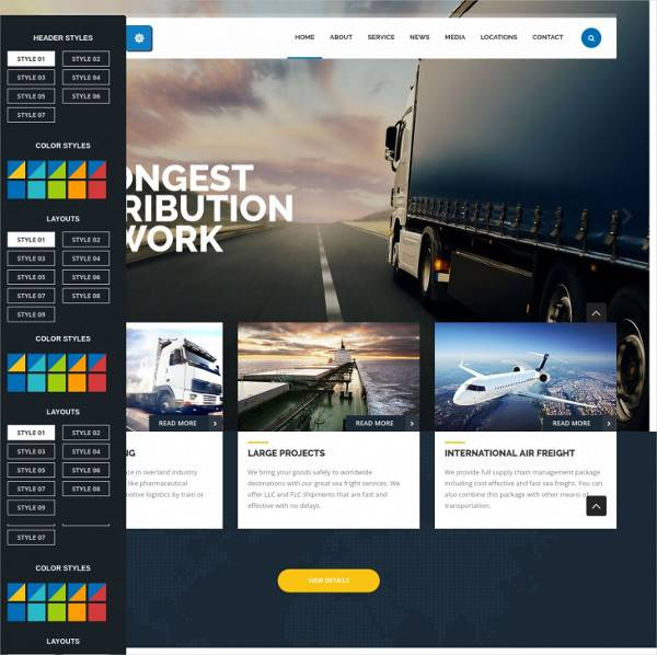 trucking transport wordpress theme1