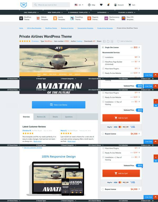 classic wordpress theme for aviation websites