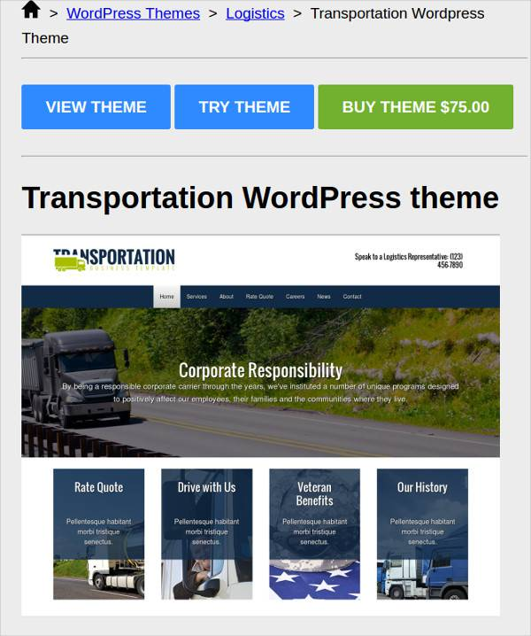 online transportation wordpress theme