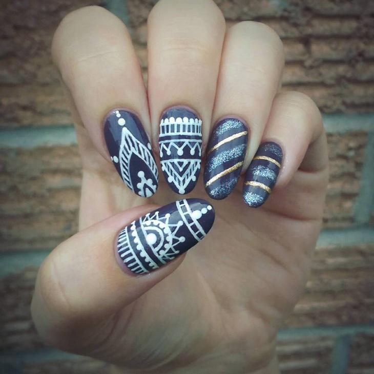 Aztec Pattern Nail Design