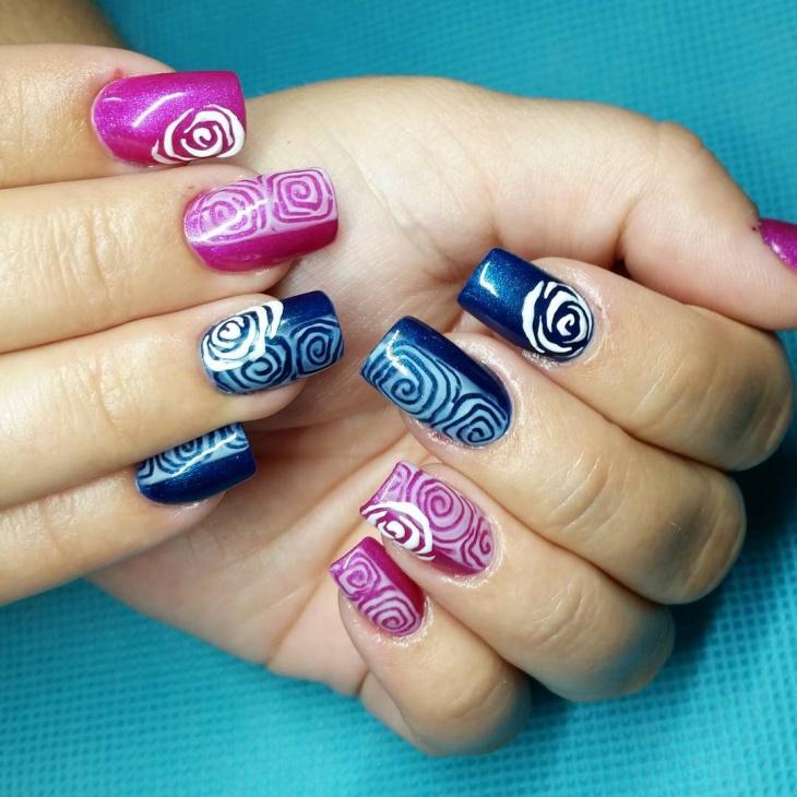 Rose Pattern Nail Art