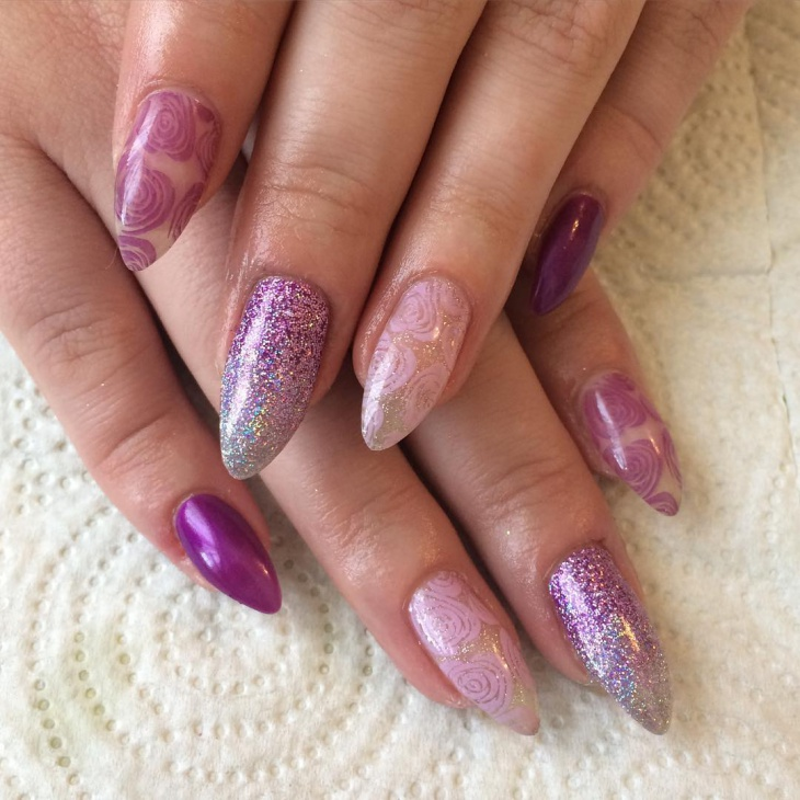 Purple Color Rose Nail Art
