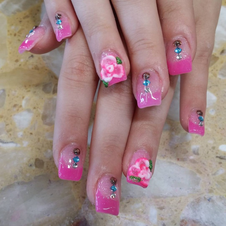 pink color flower pattern nails