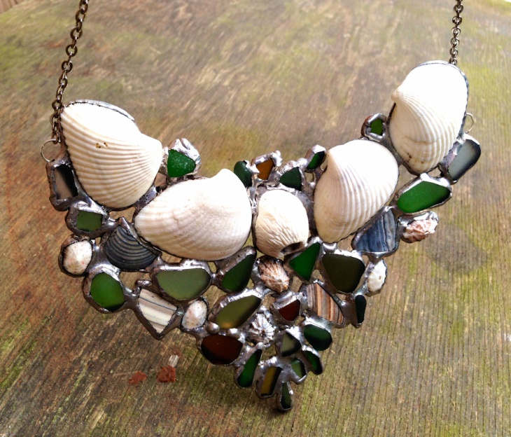 Shell and Beach Glass Necklace Idea