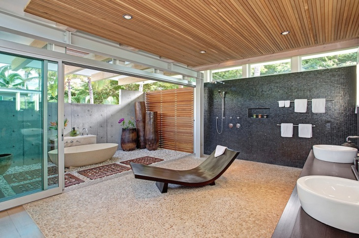 Japanese Bathroom with Wooden Roof Design