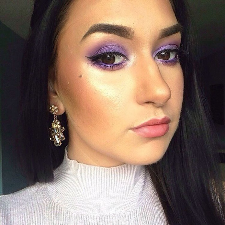 brown eyes purple makeover