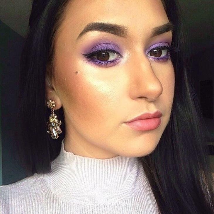Brown Eyes Purple Makeover