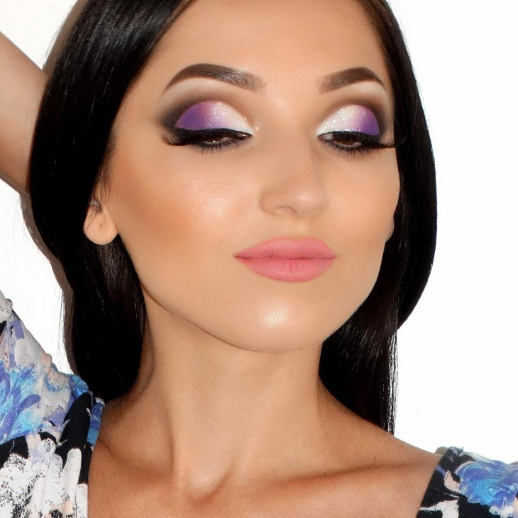 white and purple eye makeup