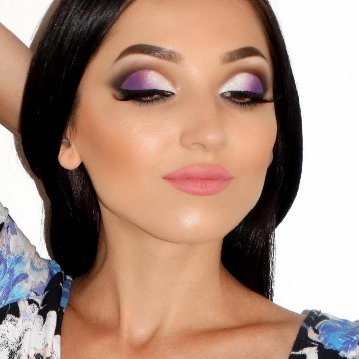 White and Purple Eye Makeup