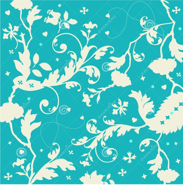 Seamless Turquoise Texture with Florals and Hearts