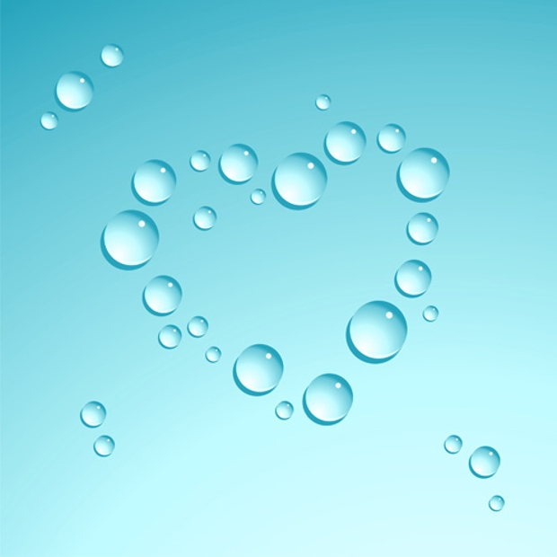 water drop with heart shape vector