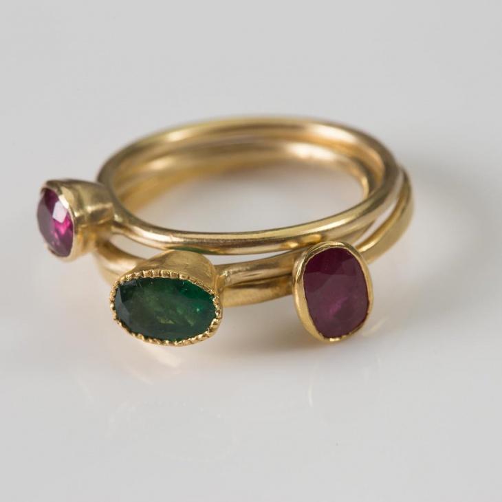 Three Stone Ruby Ring