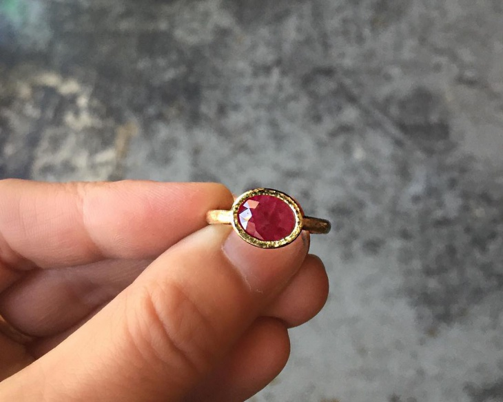 handmade ruby ring