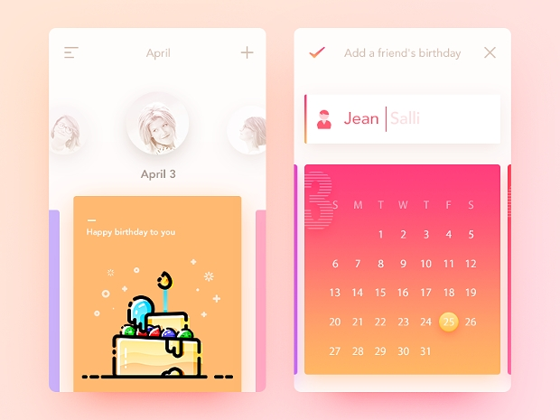 birthday calendar app design