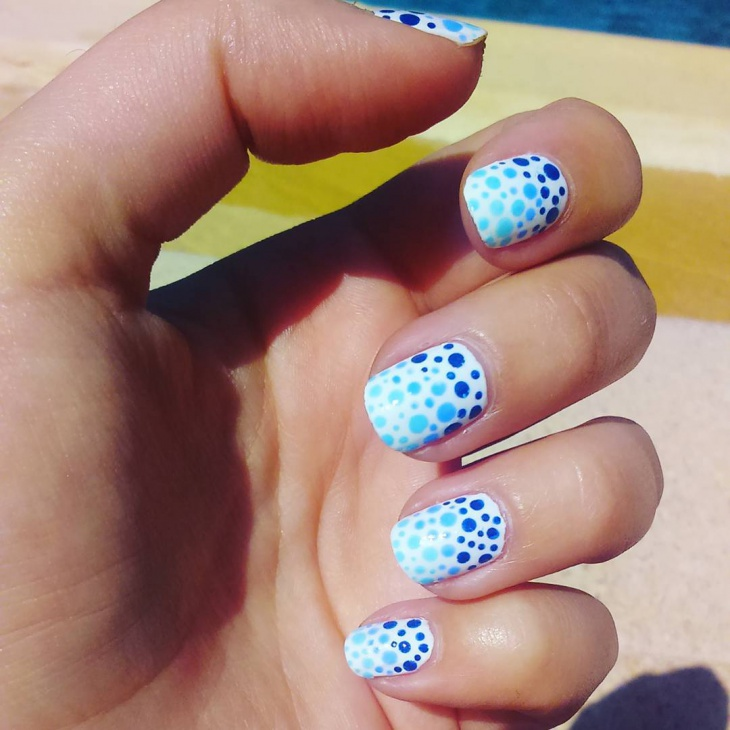 Blue Bubble Nail Design