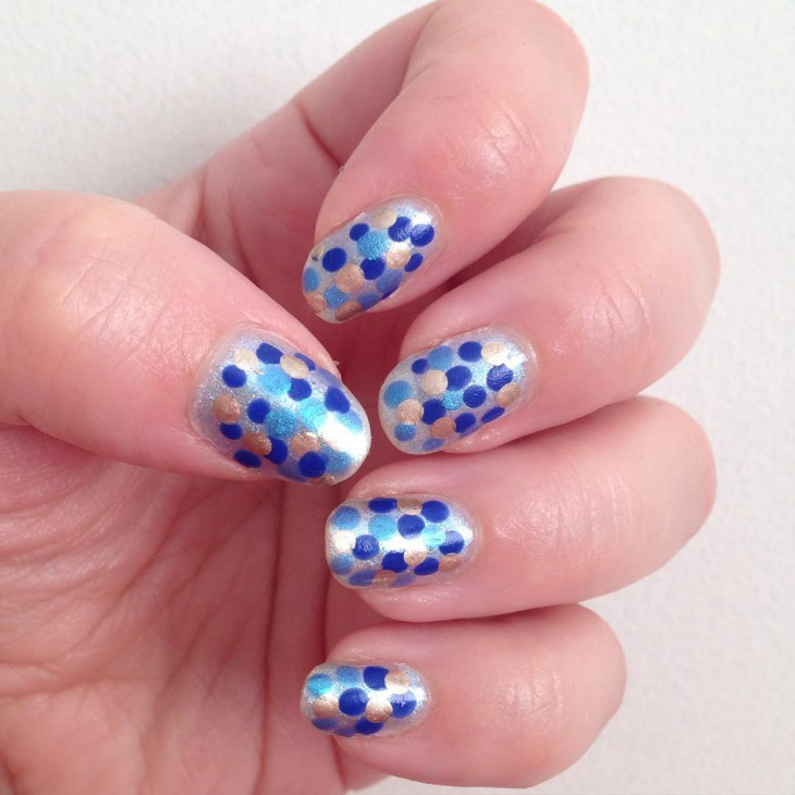 Blue and Gold Bubble Nail Design