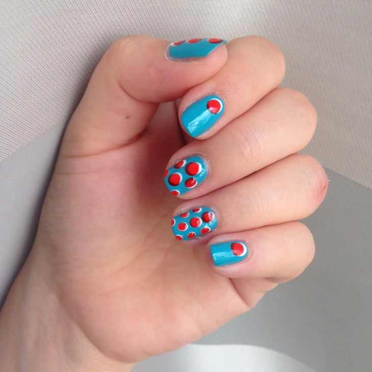 Red Dotted Nail Art for Square Nails