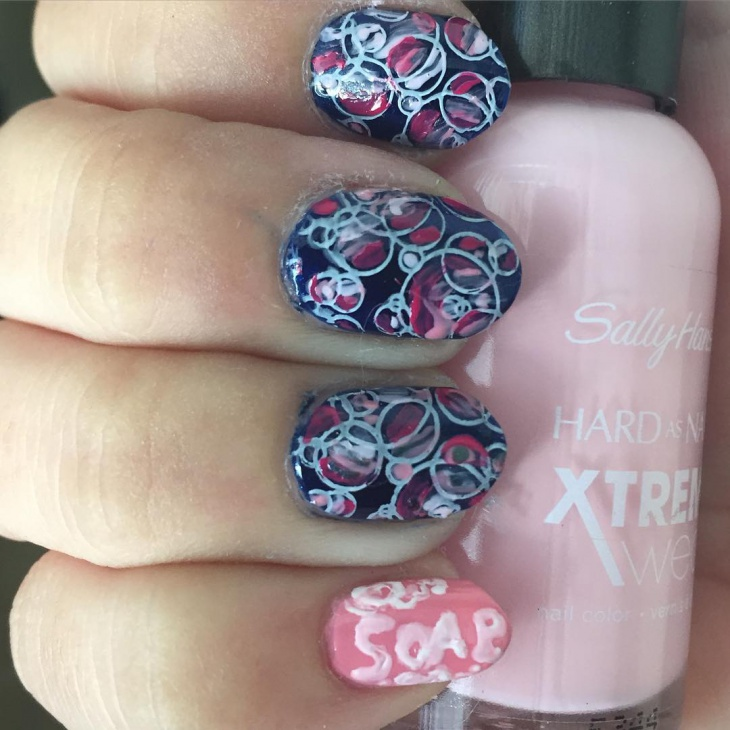 Beautiful Soap Bubbles Nail Design