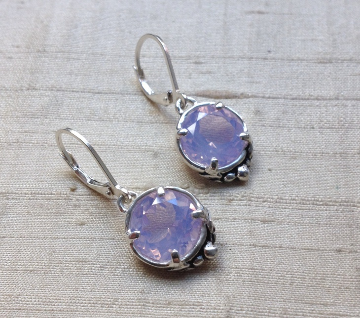 purple color drop earrings