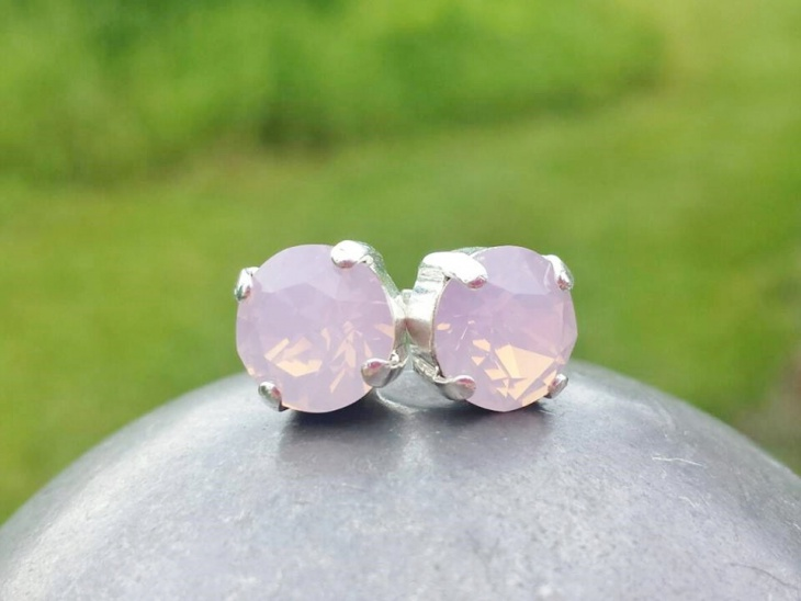 rose pink crystal studs