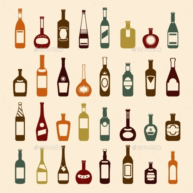 Beer Bottle and Wine Icon Set