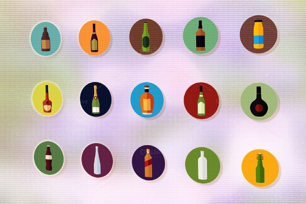 Vector Bottle Icon Set