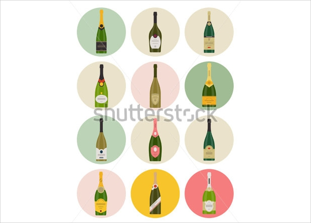 Vector Champagne Bottle Icon Set