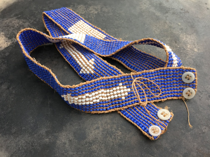 blue color beaded belt design