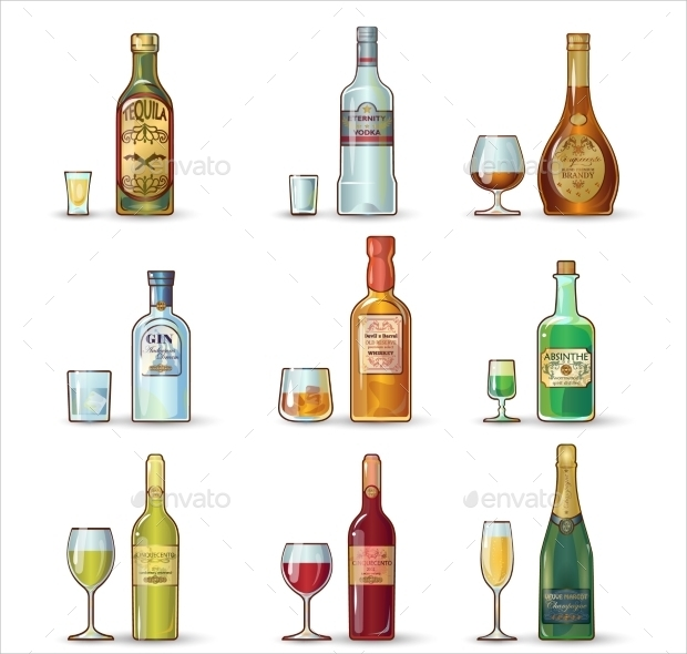 Alchol Bottle Icon Set
