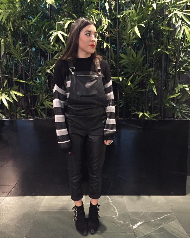 leather dungaree dress
