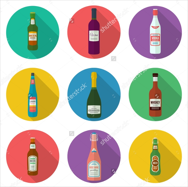 Flat Design Alcohol Bottles Icon set