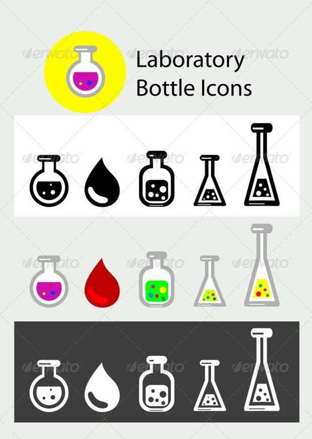 Laboratory Bottle Icon Set