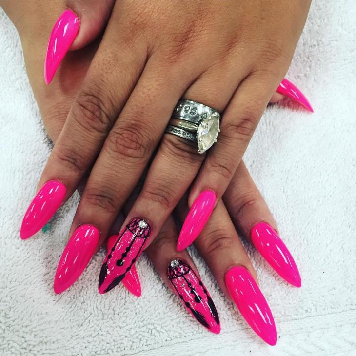pink long talon nails