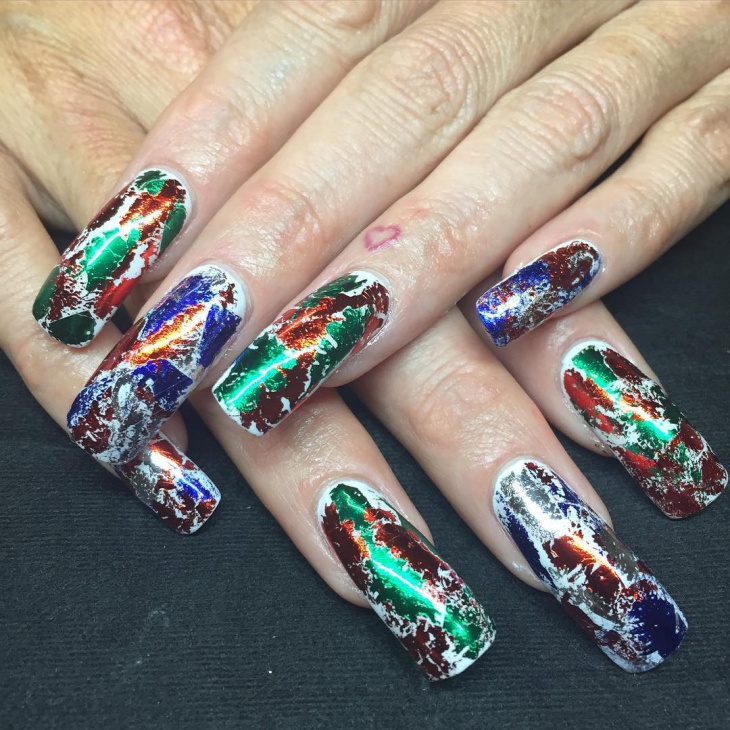 Red and Green Foil Nails