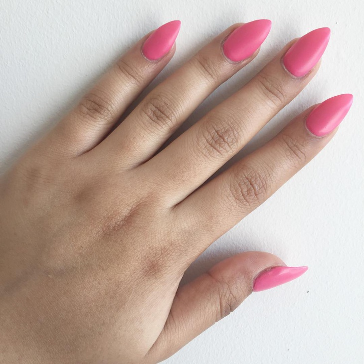 pink color pointy nails