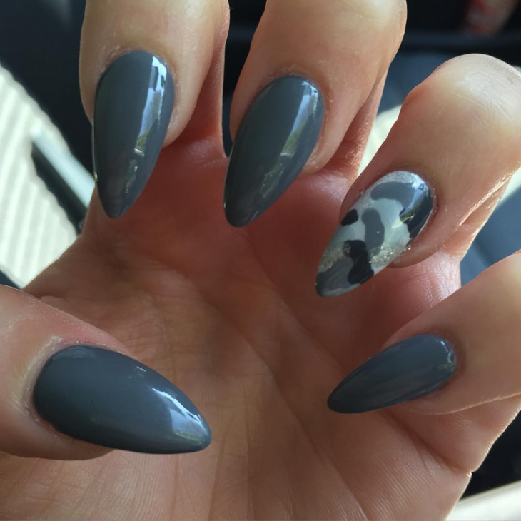 Grey Color Talon Nail Art