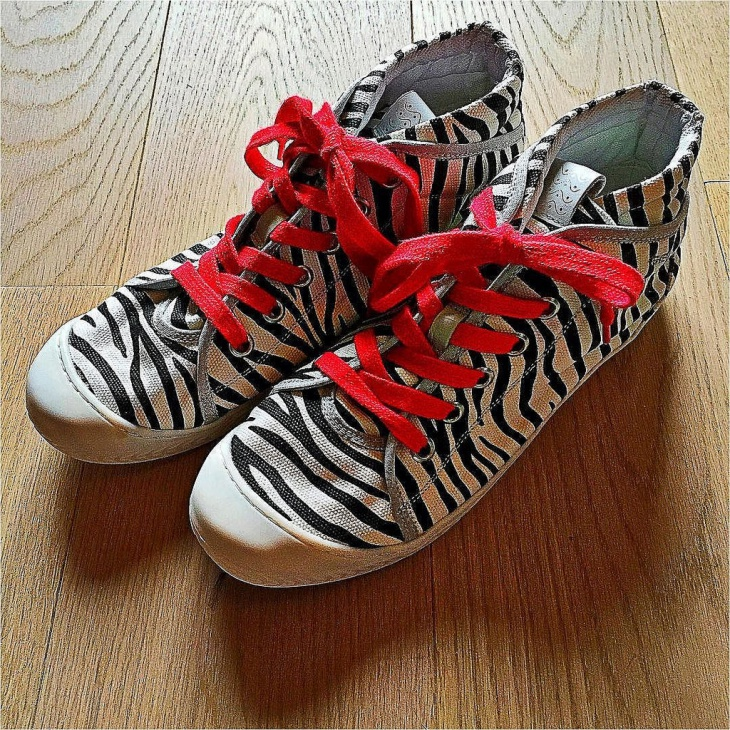 Beautiful Zebra Sneakers with Red Lace